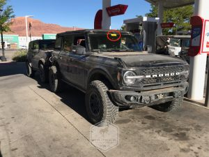 2021 Ford Bronco Badlands with Sasquatch Package at Gas Station