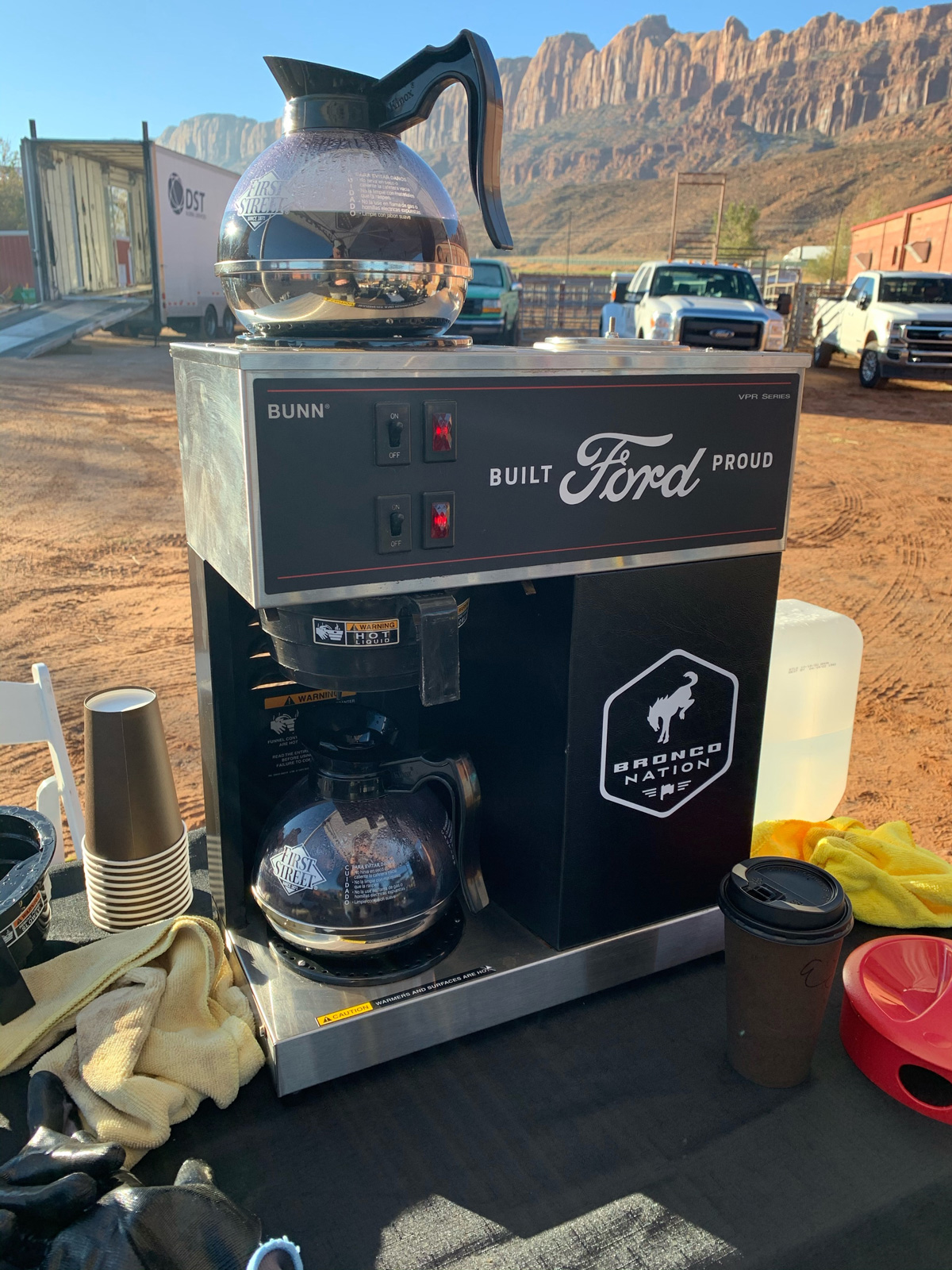 The Bronco Nation Coffee Maker is a welcome site early in the morning