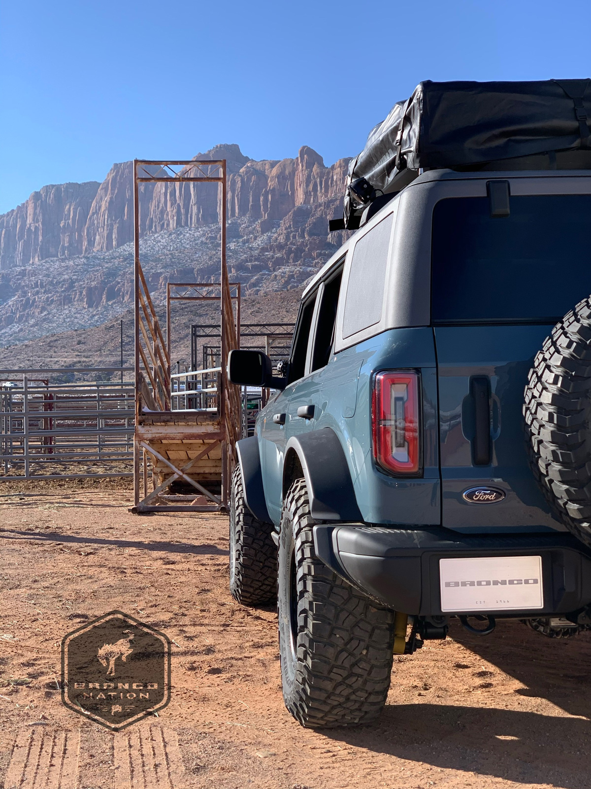 Rear shot of the Bronco with the La Sal mountains in range